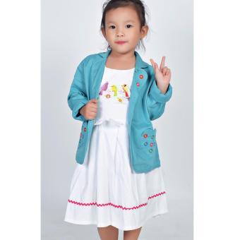 Áo khoác kaki túi tim Somy Kids màu xanh ngọc