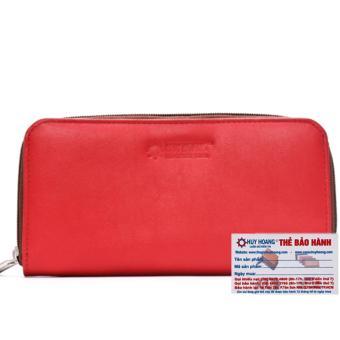 HL3144 - Ví nữ da bò Huy Hoàng cao cấp 1 khóa màu đỏ