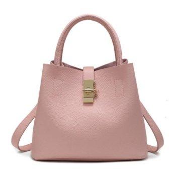 2017New PU Leather Fashion Candy Women Bags Mobile Messenger Ladies Handbag (Pink) - intl