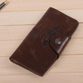 New Fashion Mens Leather Long Wallet Pockets ID Card Clutch Bifold Purse - intl