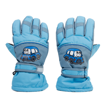 Pair Anti-slip Winter Warm Breathable 8-10 Years Children Kids Ski Skating Gloves Sky Blue - Intl