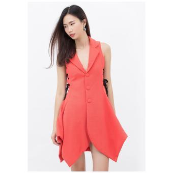 Đầm xòe Amun giả vest vạt cách điệu màu cam DMI103-CAM
