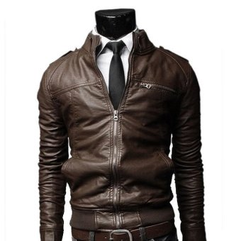 Cyber New Men's Motorcycle Leather Jacket Slim Coat Outwear(Dark coffee) - Intl