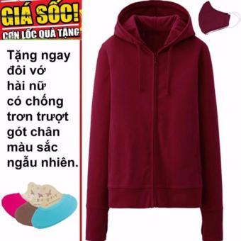 Áo khoác chống nắng cotton mịn (màu mận) tặng kèm khẩu trang + 1 đôi tất hài chống trơn trượt