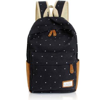 Canvas Backpack Satchel Rucksack Dot Printing Schoolbag Leisure Travel Shoulder Bag Black