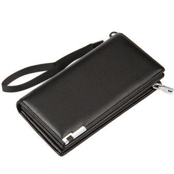 Business Men Money Change Credit Cards Holder Clutch Handbag PU Leather Casual Wallet Long Zipper Purse Black - intl