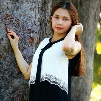 Đầm bầu suông A phối ren Đẹp+ SD1106 Black & White