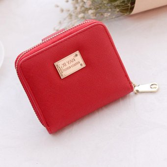 Moonar Fashion women Cross pattern Small Zipper button coin purse wallet (Red) - intl