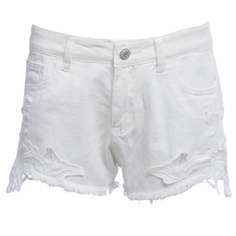 Women Polyester Mid Waist Lacework Denim Shorts (White) - intl