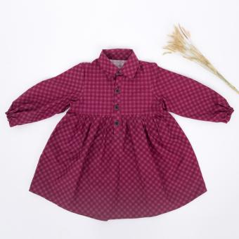Đầm thô tay dài cổ đức Papa - fashion for kids