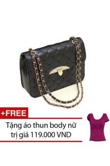 Túi xách nữ đính đá họa tiêt trái tim TTGG (Đen) + Tặng 1 áo thun body nữ