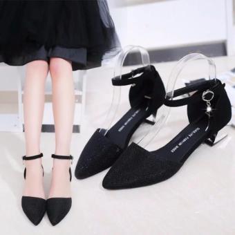 Giày gót kiểu da kim tuyến cao cấp ( ĐEN )