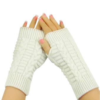 Fashion Knitted Arm Fingerless Winter Gloves Unisex Soft Warm Mitten White - Intl