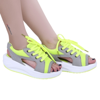 Casual Patchwork Open Toe Lace Up Mesh Platform Sandals(Neon Green) - intl