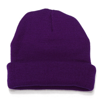 Unisex Knitted Plain Beanie Hiphop Cap Skull Cuff Winter Hat Crochet Solid Color purple - Intl