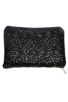 Bluelans Sequins Dazzling Clutch Evening Party Bag Handbag Purse Black (Intl)
