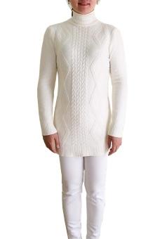 Áo len cao cổ dáng dài MY-03 (Trắng)