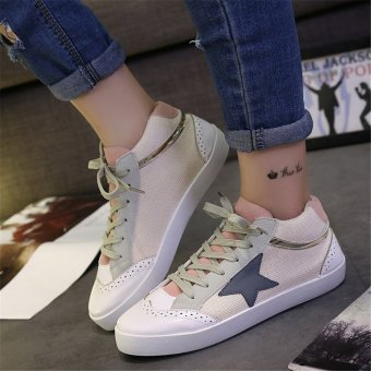 Canvas Shoes Lace Up Round Toe Patchwork Flat Shoes(Pink) - intl