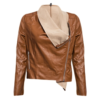 Ladies Turn-down Collar Zipper Waterproof Leather Coat (Brown) - intl
