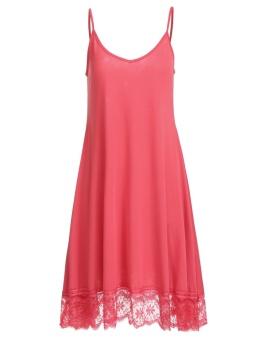 Cyber Women Spaghetti Strap Lace Trim Casual Loose Fit Swing Tunic Dress ( Watermelon Red ) - intl