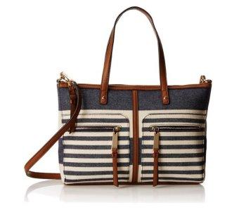 Túi xách nữ sọc xanh/trắng Tommy Hilfiger Satchel with Zips Top Handle Bag (Mỹ)
