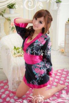 Đầm Ngủ Sexy Kimono Đen MS612 Huy Kiệt