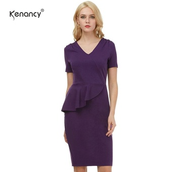 Kenancy Womens Elegant V-Neck Short Sleeve Peplum Dress Office Work Party Stretch Sheath Midi Pencil Dress - intl