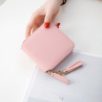 1pc Fashion PU Leather Zipper Clutch Wallet Ladies Tassel Mini Short Purse- Pink - intl