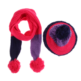 New Baby Kid Girl Boy Hat Warm Knitted Wool Cap Scarf(Rose Red)