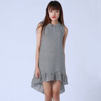 Đầm Sọc Cổ Sen Kim Fashion KFD0315 (Đen)