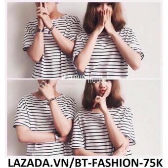 Áo Thun Cặp Nam Nữ Sọc Ngag Thời Trang - BT Fashion AT048K (Sọc Nhỏ Trắng))