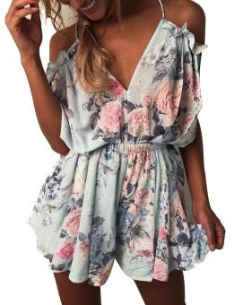 Cyber New Fashion Women Casual Lace Up Collar Elastic Waist Mini Playsuit Summer Beach Jumpsuit ( Blue ) - intl