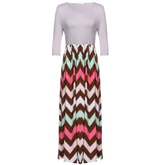Cyber ANGVNS Women 3/4 Sleeve Casual Contrast Color Striped Maxi Dress ( Grey ) - Intl