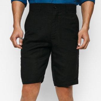 Quần short nam linen màu Đen MINT Basic (Đen)