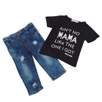 Toddler Kid Infant Baby Boy Clothes T-shirt Top+Denim Pant Outfit Set - intl