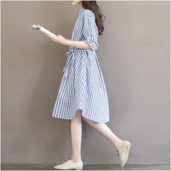 Đầm bầu thời trang công sở chất kẻ sọc DB2203 (Sọc Xanh)