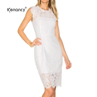 Kenancy Womens Elegant Sleeveless Floral Eyelash Lace Cocktail Party Wedding Evening Work Casual Crew Neck Knee Length Bodycon Dress - intl