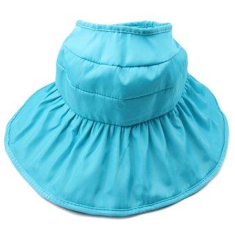 Fashion Kid Girls Wide Brim Petal Shape Summer Sun Beach Bucket Hat Cap Sun Protection Hollow Out Style Lake Blue - intl