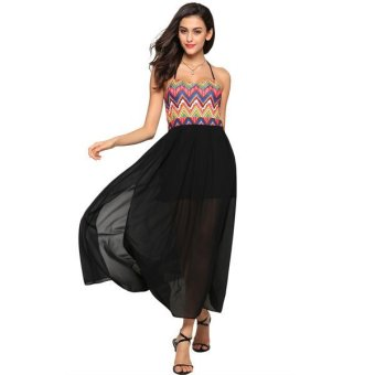 Cyber FINEJO Women National Style Spaghetti Strap Chiffon Patchwork Maxi Dress(Black) - Intl