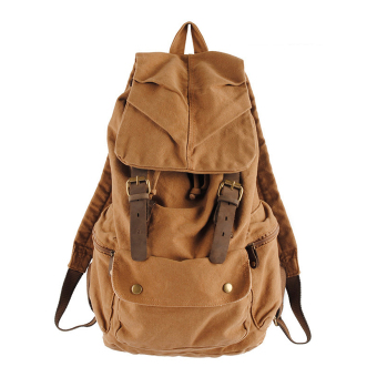 Vintage Canvas Shoulders Backpack Hiking School Bag Khaki