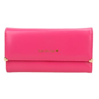 Women PU Long Leather Wallet Card Holder Clutch Handbag (Pink) - intl