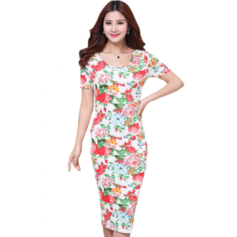 Fancyqube Women Flower Printed Tight Dress Short Sleeve O-neck Dresses Multicolor - Intl - intl