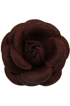LALANG Camellia Flower Brooches DIY Craft Cloth Pin (Coffee) - Intl