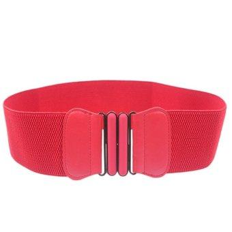 Fashion Lady Bowknot Stretch Elastic Wide Belt Elastic Dress Adornment Red