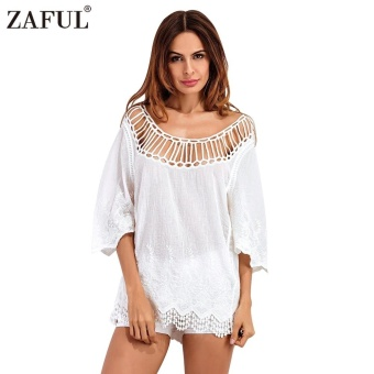 Mua Zaful Lace Series Woman Top Spring And Summer Sexy Style Crewneck Scalloped 3/4-Sleeve And Lace Hollow Crochet Bikini Cover Up - intl giá tốt nhất