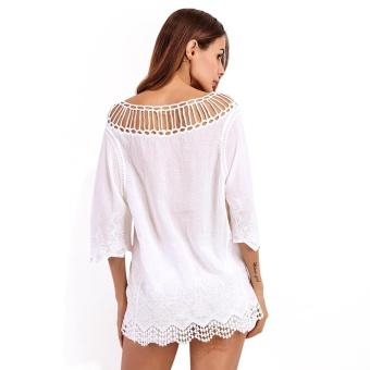 Zaful Lace Series Woman Top Spring And Summer Sexy Style Crewneck Scalloped 3/4-Sleeve And Lace Hollow Crochet Bikini Cover Up - intl
