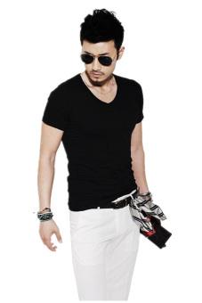 V-Neck Casual T-Shirt (Black)