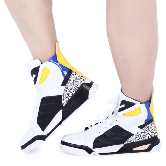 Casual Monster Design Color Block Male Dunk High Shoes(White) - intl