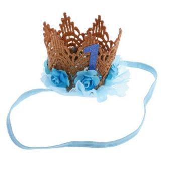 BolehDeals Lovely Baby Girl Glitter 1 Crown Hair Band Flower Tulle Headband Blue - intl