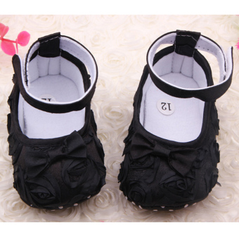 Moonar Baby Children Kids Girls Princess Bow Soft Flat Shoes (Black)